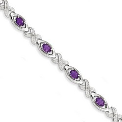 Amethyst & Diamond Bracelet in 9.71 gr. 925 Sterling Silver 3.41 ct Gemstone