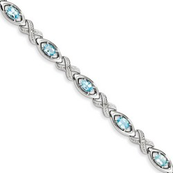 Blue Topaz & Diamond Bracelet in 9.71 gr. 925 Sterling Silver 4.88 ct Gemstone