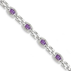 Amethyst & Diamond Bracelet in 9.02 gr. 925 Sterling Silver 3.59 ct Gemstone