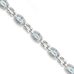 Blue Topaz & Diamond Bracelet in 9.02 gr. 925 Sterling Silver 4.47 ct Gemstone
