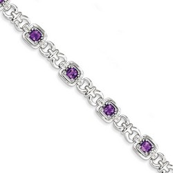 Amethyst & Diamond Bracelet in 11.77 gr. 925 Sterling Silver 4.09 ct Gemstone