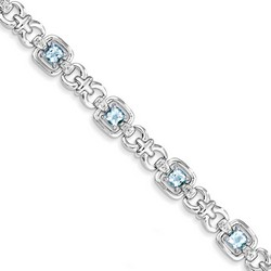 Blue Topaz & Diamond Bracelet in 11.77 gr. 925 Sterling Silver 4.89 ct Gemstone