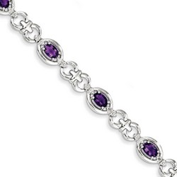 Amethyst & Diamond Bracelet in 10.81 gr. 925 Sterling Silver 3.1 ct Gemstone