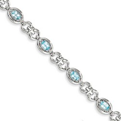 Blue Topaz & Diamond Bracelet in 10.81 gr. 925 Sterling Silver 4.26 ct Gemstone