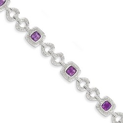 Amethyst & Diamond Bracelet in 12.52 gr. 925 Sterling Silver 3.58 ct Gemstone