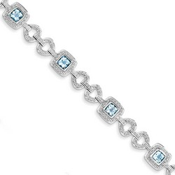 Blue Topaz & Diamond Bracelet in 12.52 gr. 925 Sterling Silver 4.24 ct Gemstone