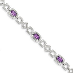 Amethyst & Diamond Bracelet in 11.64 gr. 925 Sterling Silver 2.91 ct Gemstone