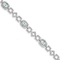 Blue Topaz & Diamond Bracelet in 11.64 gr. 925 Sterling Silver 3.58 ct Gemstone