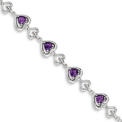 Amethyst & Diamond Bracelet in 10.92 gr. 925 Sterling Silver 4.41 ct Gemstone