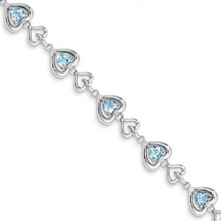 Blue Topaz & Diamond Bracelet in 10.92 gr. 925 Sterling Silver 5.55 ct Gemstone