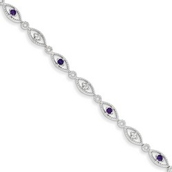 Amethyst & Diamond Bracelet in 4.84 gr. 925 Sterling Silver 0.33 ct Gemstone