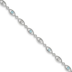 Blue Topaz & Diamond Bracelet in 4.84 gr. 925 Sterling Silver 0.45 ct Gemstone
