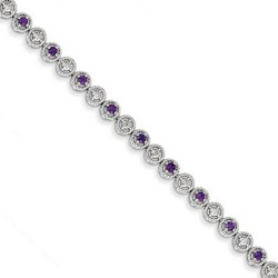 Amethyst & Diamond Bracelet in 6.38 gr. 925 Sterling Silver 0.87 ct Gemstone