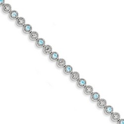 Blue Topaz & Diamond Bracelet in 6.38 gr. 925 Sterling Silver 1.35 ct Gemstone