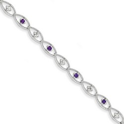 Amethyst & Diamond Bracelet in 5.4 gr. 925 Sterling Silver 0.44 ct Gemstone