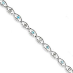 Blue Topaz & Diamond Bracelet in 5.4 gr. 925 Sterling Silver 0.64 ct Gemstone