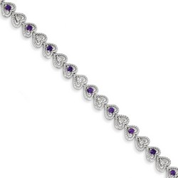 Amethyst & Diamond Bracelet in 7.65 gr. 925 Sterling Silver 0.82 ct Gemstone