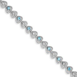 Blue Topaz & Diamond Bracelet in 7.65 gr. 925 Sterling Silver 1.28 ct Gemstone