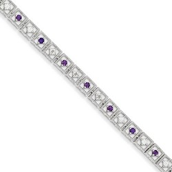 Amethyst & Diamond Bracelet in 7.42 gr. 925 Sterling Silver 0.76 ct Gemstone