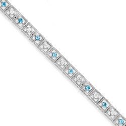 Blue Topaz & Diamond Bracelet in 7.42 gr. 925 Sterling Silver 1.17 ct Gemstone