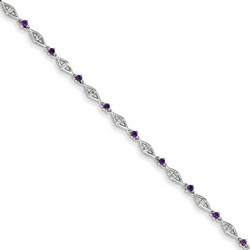 Amethyst & Diamond Bracelet in 3 gr. 925 Sterling Silver 0.46 ct Gemstone