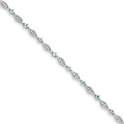 Blue Topaz & Diamond Bracelet in 3 gr. 925 Sterling Silver 0.63 ct Gemstone