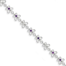 Amethyst & Diamond Bracelet in 4.11 gr. 925 Sterling Silver 0.29 ct Gemstone