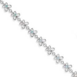 Blue Topaz & Diamond Bracelet in 4.11 gr. 925 Sterling Silver 0.46 ct Gemstone