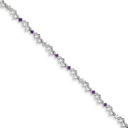 Amethyst & Diamond Bracelet in 4.11 gr. 925 Sterling Silver 0.38 ct Gemstone