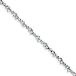 Blue Topaz & Diamond Bracelet in 4.11 gr. 925 Sterling Silver 0.53 ct Gemstone