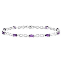 Amethyst Bracelet in 4.26 gr. 925 Sterling Silver 1.89 ct Gemstone