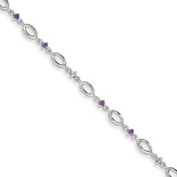 Amethyst & Diamond Bracelet in 3.17 gr. 925 Sterling Silver 0.24 ct Gemstone