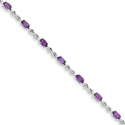 Amethyst Bracelet in 3.75 gr. 925 Sterling Silver 2.7 ct Gemstone