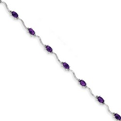Amethyst Bracelet in 2.5 gr. 925 Sterling Silver 2.43 ct Gemstone