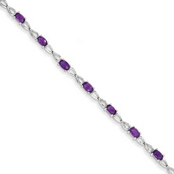 Amethyst Bracelet in 3.48 gr. 925 Sterling Silver 2.94 ct Gemstone