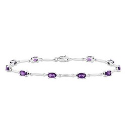 Amethyst Bracelet in 3 gr. 925 Sterling Silver 2.18 ct Gemstone