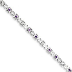 Amethyst & Diamond Bracelet in 5.78 gr. 925 Sterling Silver 0.35 ct Gemstone