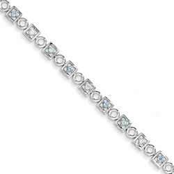 Blue Topaz & Diamond Bracelet in 5.78 gr. 925 Sterling Silver 0.53 ct Gemstone