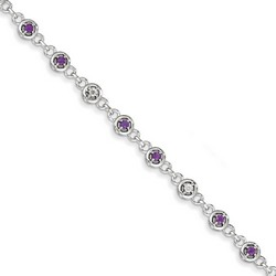 Amethyst & Diamond Bracelet in 5.17 gr. 925 Sterling Silver 0.54 ct Gemstone