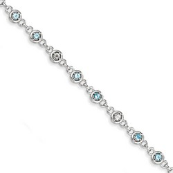 Blue Topaz & Diamond Bracelet in 5.17 gr. 925 Sterling Silver 0.8 ct Gemstone