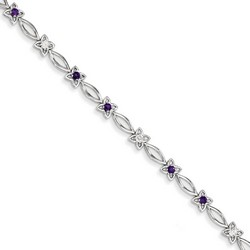 Amethyst & Diamond Bracelet in 5.26 gr. 925 Sterling Silver 0.44 ct Gemstone