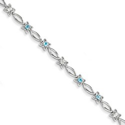 Blue Topaz & Diamond Bracelet in 5.26 gr. 925 Sterling Silver 0.67 ct Gemstone