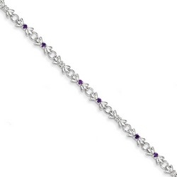 Amethyst & Diamond Bracelet in 5.13 gr. 925 Sterling Silver 0.29 ct Gemstone