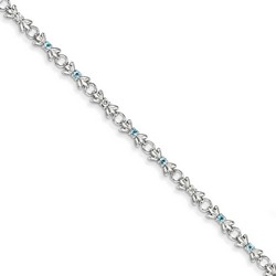 Blue Topaz & Diamond Bracelet in 5.13 gr. 925 Sterling Silver 0.41 ct Gemstone