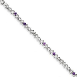 Amethyst & Diamond Bracelet in 4.19 gr. 925 Sterling Silver 0.47 ct Gemstone