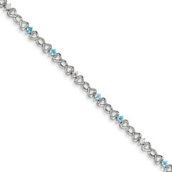 Blue Topaz & Diamond Bracelet in 4.19 gr. 925 Sterling Silver 0.67 ct Gemstone