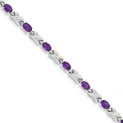 Amethyst Bracelet in 10.3 gr. 925 Sterling Silver 4.5 ct Gemstone
