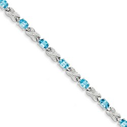 Blue Topaz Bracelet in 10.3 gr. 925 Sterling Silver 5.7 ct Gemstone