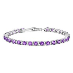 Amethyst & Diamond Bracelet in 7.09 gr. 925 Sterling Silver 4.09 ct Gemstone