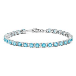 Blue Topaz & Diamond Bracelet in 7.09 gr. 925 Sterling Silver 5.45 ct Gemstone